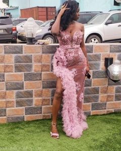 hot ankara lace off shoulder long gown for aso ebi