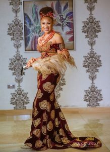 cute african print long gown for traditional wedding