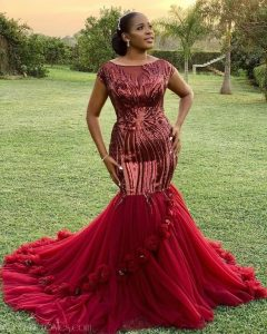 ankara lace mermaid gown for wedding and aso ebi