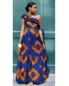 one sleeve ankara gown for wedding