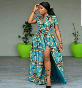 ankara maxi long gown split to thigh
