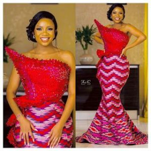 latest ankara lace one sleeve blouse and long skirt aso ebi style
