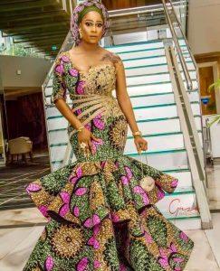 ankara peplum mermaid gown for wedding and church