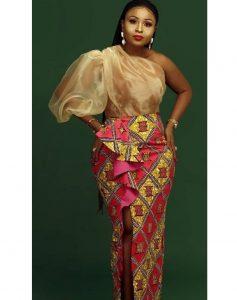 one-sleeved puffed ankara aso ebi gown style