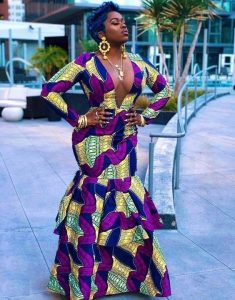 hot two steps ankara mermaid long gown for young ladies