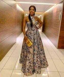 long ankara maxi gown for wedding party