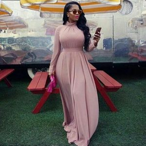 long neck long sleeve ankara long gown for classy ladies