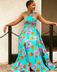 short sleeve ankara maxi gown for young ladies