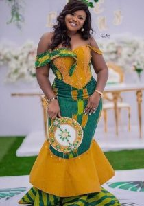 hot kente african print long gown for wedding