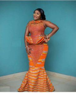 ankara peplum blouse with long mermaid skirt for young ladies