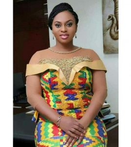off shoulder kente long gown with lace bead design