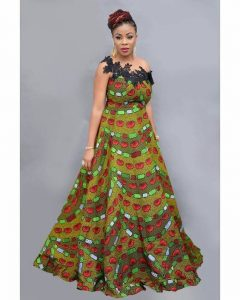 short sleeve long ankara maxi gown for young ladies