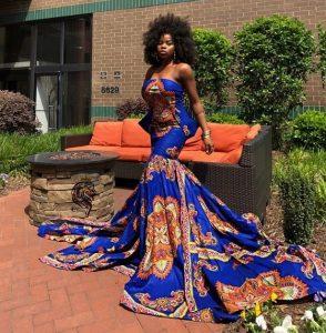 sleeveless ankara mermaid long gown for cute ladies