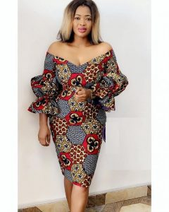 off shoulder ankara short gown with puffed sleeves