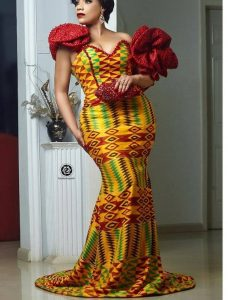 kente plus lace gown for traditional wedding