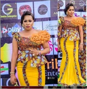 special ankara lace long skirt and blouse for wedding and church