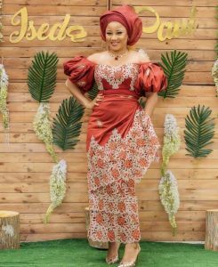 ankara lace blouse and wrapper with gele hair tie for young ladies