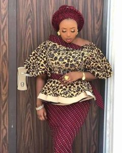 special ankara lace skirt and blouse with gele hair tie for wedding and church