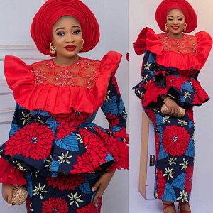 classy ankara long peplum skirt and blouse with gele hair tie for young ladies