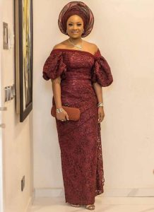 trending ankara lace, one piece wrapper and blouse style with auto gele head wrap