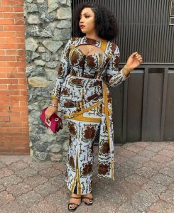 gorgeous ankara gown with with short wrapper style for classy, busty ladies