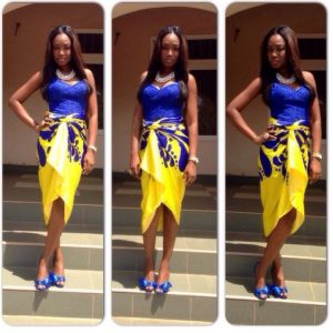 short sleeve ankara lace blouse with one piece, short wrapper style for young ladies