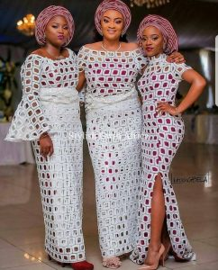 ankara lace blouse and wrapper outfit, aso ebi style