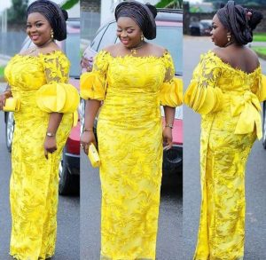 classy ankara lace wrapper-gown with matching pause