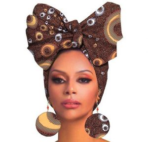 trending ankara auto headwear with bow tie design and matching earring