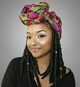 latest african print head wrap style