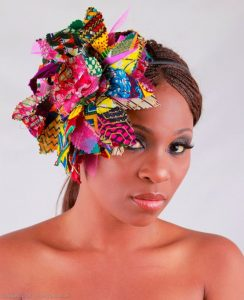 flower-shaped ankara fascinator headpiece style