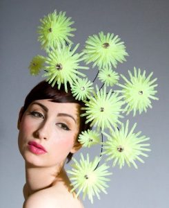 sun flower shaped fascinator headpiece style for cultural festivals