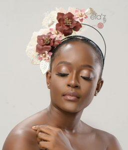 floral fascinator headpiece style for brides with short hair or natural hairstyle