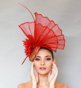 hand fan shaped fascinator headpiece style for wedding and carnivals