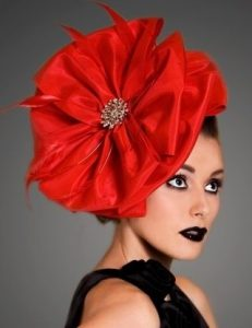pepper red fascinator headpiece style