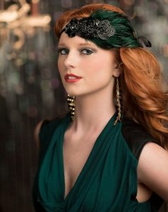 fascinator headpiece with a matching gown