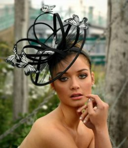 bridal fascinator headpiece style with butterfly design