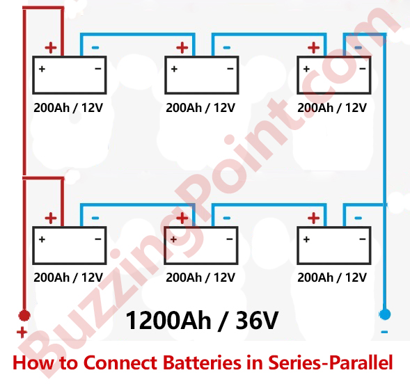 how to connect batteries in series-parallel: connection/wiring diagram
