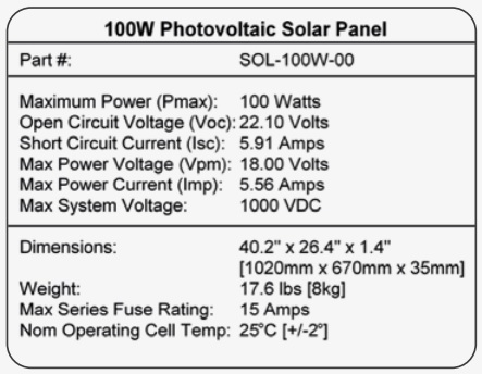 how to read the name plate of a solar panel