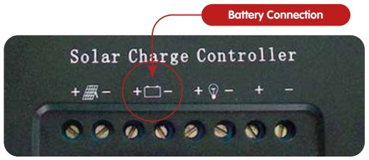 Battery connection terminals on a solar charge controller