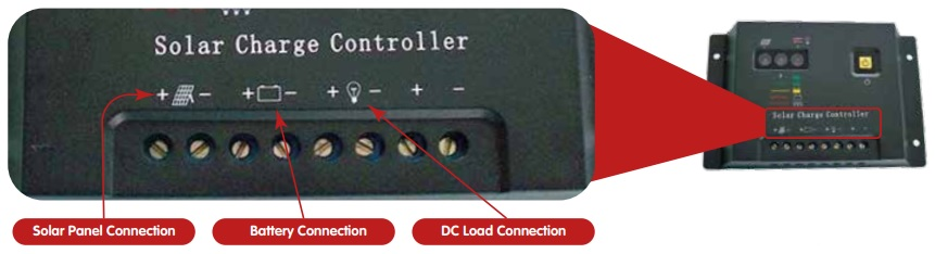 Charge controller connection terminals