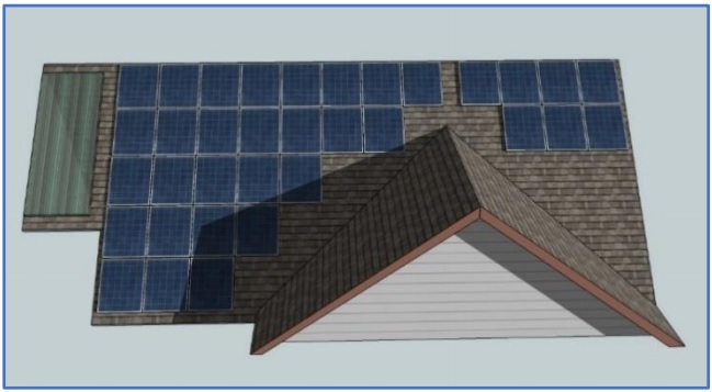 Example of self-Induced array shading by roof gable