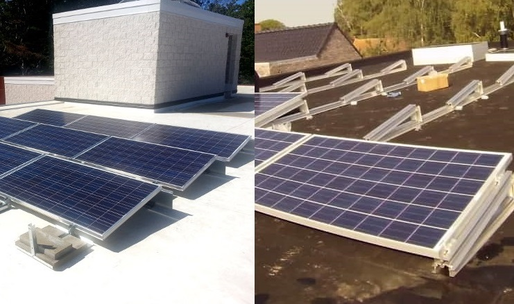 Flat roof ballasted solar PV array