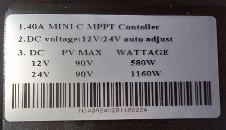 Permitted PV voltage and wattage range for a 40a MPPT charge controller, charge controller name plate