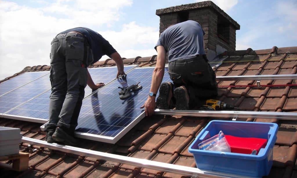 Solar panels mounted on rooftops